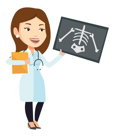 Caucasien femme médecin examine une radiographie. Jeune médecin en regardant une radiographie thoracique. Femme médecin observant une radiographie du squelette. Illustration de design plat de vecteur isolé sur fond blanc.