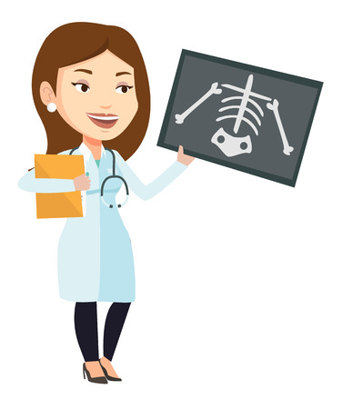 Caucasian female doctor examining a radiograph. Young doctor looking at a chest radiograph. Female doctor observing a skeleton radiograph. Vector flat design illustration isolated on white background. Illustration