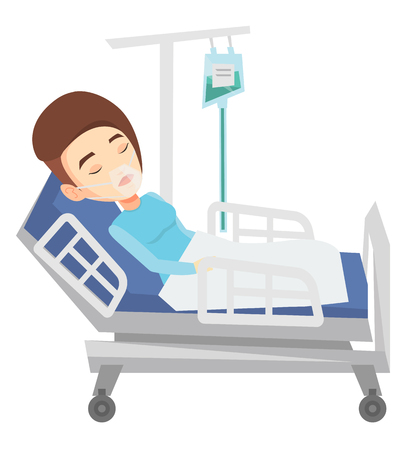 Woman lying in hospital bed with oxygen mask. Woman during medical procedure with drop counter. Patient recovering in bed in hospital. Vector flat design illustration isolated on white background.