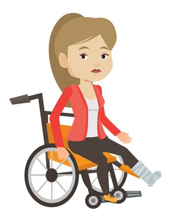 石膏の足と悲しい女性。足の骨折で車椅子に座っている動揺の女性が負傷しました。骨折した足の痛みから苦しんでいる女性。ベクトル フラットな