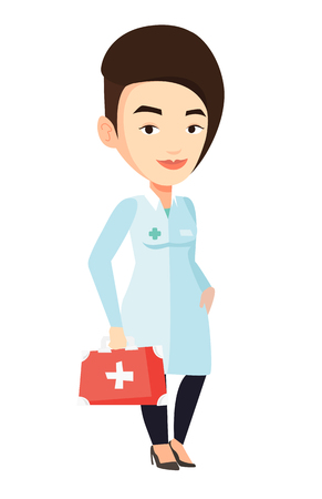Caucasian female doctor in medical gown holding first aid box. Friendly doctor standing with first aid kit. Doctor carrying first aid box. Vector flat design illustration isolated on white background. Vettoriali