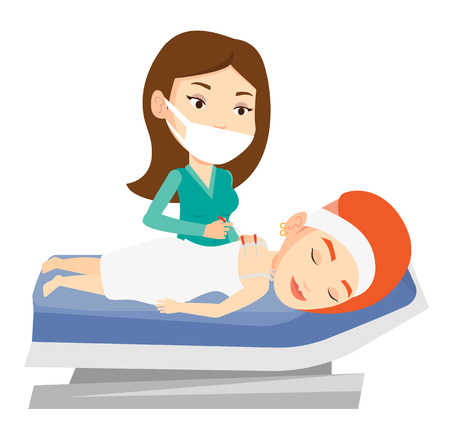 Caucasian woman getting acupuncture treatment in a spa center. Acupuncturist doctor performing acupuncture therapy on back of a customer. Vector flat design illustration isolated on white background.