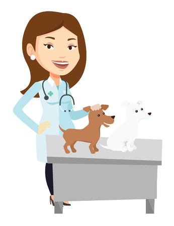 Caucasian veterinarian with stethoscope examining dogs in hospital. Veterinarian with dogs at vet clinic. Concept of medicine and pet care. Vector flat design illustration isolated on white background