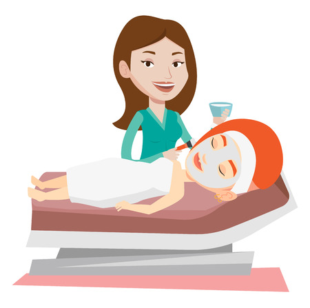 Cosmetologist applying cosmetic mask on face of female client in beauty salon. Woman lying on table in salon during cosmetology procedure. Vector flat design illustration isolated on white background.