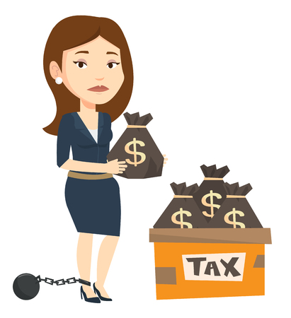 trapped: Chained to a ball taxpayer standing near bags with taxes. Upset taxpayer holding bag with dollar sign. Concept of tax time and taxpayer. Vector flat design illustration isolated on white background.