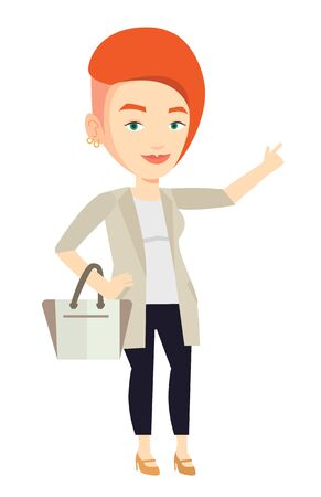 Young businesswoman pointing finger up because she came up with business idea. Businesswoman having business idea. Business idea concept. Vector flat design illustration isolated on white background. Illustration