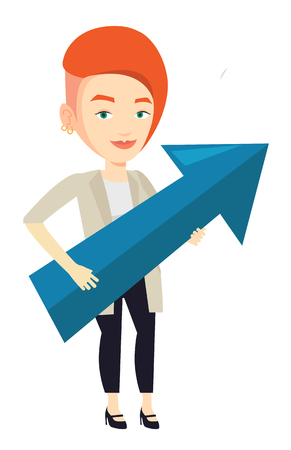 about: Businesswoman thinking about strategy of business growth. Woman holding big arrow representing business growth. Business growth concept. Vector flat design illustration isolated on white background. Illustration