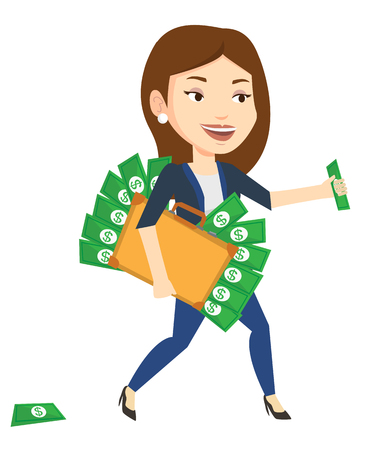 Business woman walking with briefcase full of money and committing economic crime. Business woman stealing money. Economic crime concept. Vector flat design illustration isolated on white background.