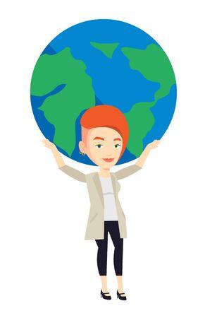 Kaukasische zakenvrouw met grote bol van de aarde boven het hoofd. Happy zaken deel te nemen in de wereldwijde business. Concept van de wereldwijde business. Vector platte ontwerp illustratie op een witte achtergrond.