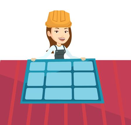 Caucasian technician installing solar panels on roof. Technician in uniform checking solar panel on roof. Technician adjusting solar panel. Vector flat design illustration isolated on white background Çizim