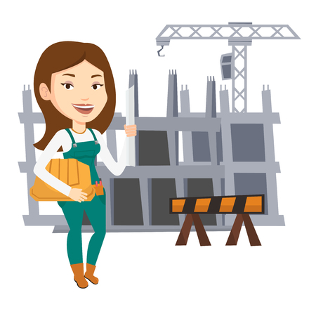 Female engineer with blueprint at construction site. Engineer holding helmet and twisted blueprint. Engineer checking construction works. Vector flat design illustration isolated on white background.