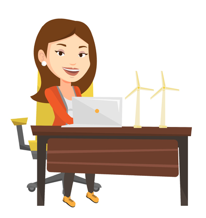 Caucasian worker of wind farm working on a laptop. Young engineer projecting wind turbine in office. Worker with model of wind turbine. Vector flat design illustration isolated on white background. Stock fotó - 83341806
