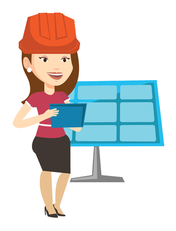 Woman working on digital tablet at solar power plant. Worker with tablet computer at solar power plant. Worker checking solar panel setup. Vector flat design illustration isolated on white background.