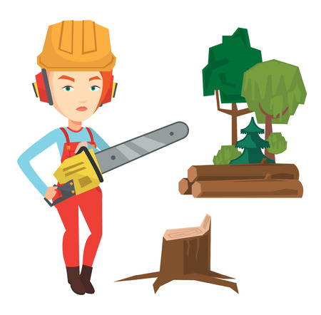 Caucasian lumberjack holding chainsaw. Lumberjack in workwear, hard hat and headphones at the forest near stump. Lumberjack chopping wood. Vector flat design illustration isolated on white background. Illustration