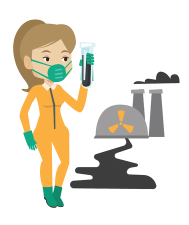 biohazard: Woman in radiation protective suit standing on the background of nuclear power plant. Woman in radiation protective suit holding test-tube. Vector flat design illustration isolated on white background Illustration