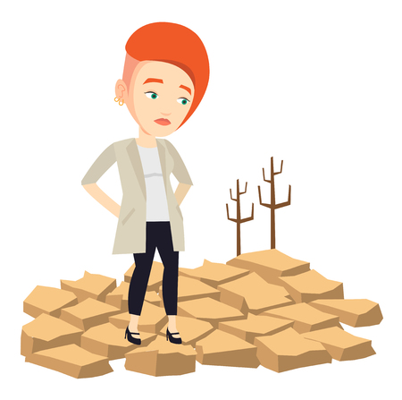 dead tree: Caucasian woman standing in the desert. Frustrated girl standing on cracked earth in the desert. Climate change and global warming concept. Vector flat design illustration isolated on white background