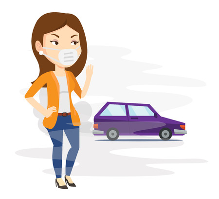 hydrocarbon: Young caucasian woman standing on the background of car with traffic fumes. Woman wearing mask to reduce the effect of traffic pollution. Vector flat design illustration isolated on white background.