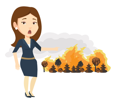 Frustrated woman standing on the background of a big forest fire. Woman pointing at forest in fire. Concept of environmental destruction. Vector flat design illustration isolated on white background.
