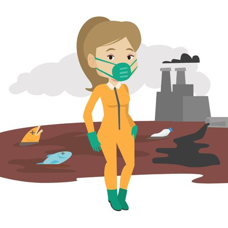 contamination: Young woman in radiation protective suit standing on the background of nuclear power plant. Scientist wearing radiation protection suit. Vector flat design illustration isolated on white background.