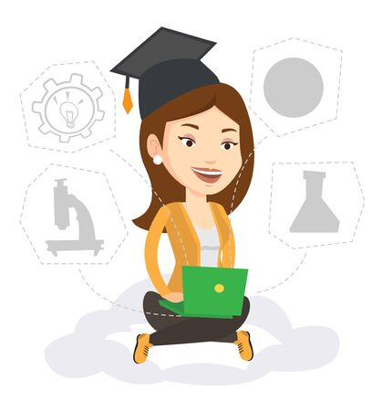 woman laptop: Graduate sitting on cloud with laptop. Graduate using cloud computing technologies. Concept of educational technology and cloud computing. Vector flat design illustration isolated on white background. Illustration