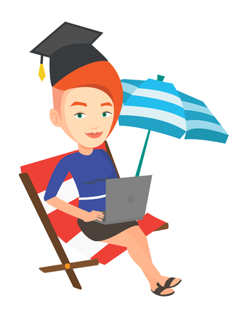 Graduate lying in chaise longue. Graduate in graduation cap working on laptop. Graduate studying on a beach. Concept of online education. Vector flat design illustration isolated on white background.