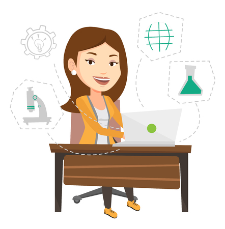 Student sitting at the table with laptop. Girl working on laptop connected with icons of school sciences. Educational technology concept. Vector flat design illustration isolated on white background. Illustration
