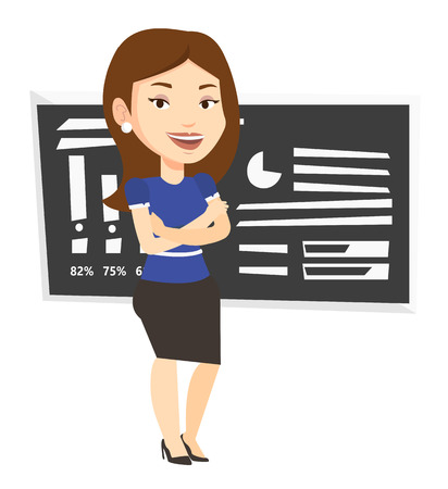 science class: Caucasian female teacher standing in classroom. Female teacher standing in front of chalkboard. Female teacher standing with folded arms. Vector flat design illustration isolated on white background.