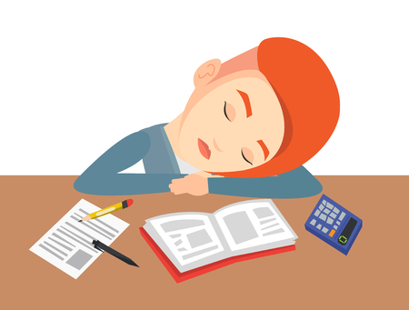 Fatigued student sleeping at the desk with books. Tired student sleeping after learning. Young woman sleeping among books at the table. Vector flat design illustration isolated on white background.