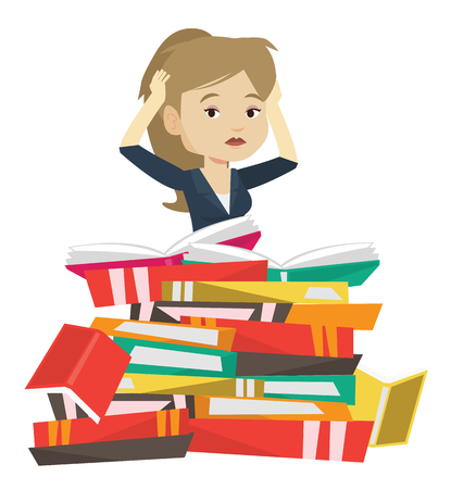 Caucasian worried student sitting in huge pile of books. Exhausted student preparing for exam with books. Stressed student reading books. Vector flat design illustration isolated on white background.