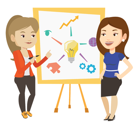 teamwork cartoon: Two caucasian students discussing a project. Group of young students working on a project. Female student drawing project on a board. Vector flat design illustration isolated on white background.