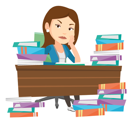 Angry student studying with textbooks. Caucasian annoyed student studying hard before the exam. Bored student studying in the library. Vector flat design illustration isolated on white background.