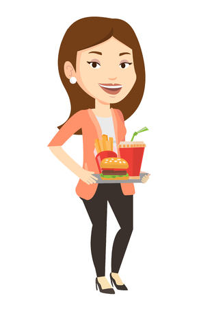 Caucasian woman holding tray with fast food. Young smiling woman having a lunch in a fast food restaurant. Happy woman with fast food. Vector flat design illustration isolated on white background. Illustration