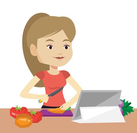 Woman cutting vegetables for salad. Woman following recipe for vegetables salad on digital tablet. Woman cooking healthy vegetable salad. Vector flat design illustration isolated on white background.