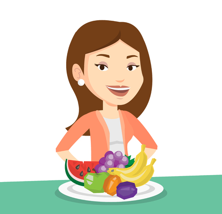 Woman standing in front of table with fresh fruits. Smiling woman with plate full of fruits. Caucasian woman eating fresh healthy fruits. Vector flat design illustration isolated on white background.