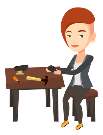 Caucasian shoemaker working with shoe in workshop. Shoemaker repairing shoe in workshop. Young shoemaker making handmade shoes in workshop. Vector flat design illustration isolated on white background Illustration