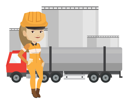 Female caucasian refinery worker of oil and gas industry. Young woman standing on the background of fuel truck and oil refinery plant. Vector flat design illustration isolated on white background.
