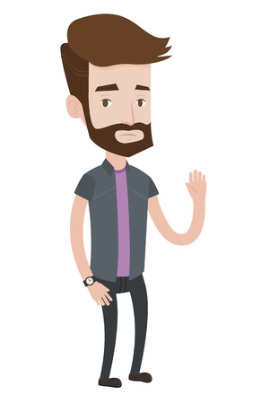 Caucasian hipster bankrupt businessman with the beard asking for help. Depressed caucasian bankrupt businessman waving. Bankruptcy concept. Vector flat design illustration isolated on white background
