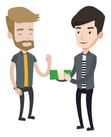 Caucasian businessman giving a bribe. Uncorrupted hipster man with the beard refusing to take a bribe. Bribery and corruption concept. Vector flat design illustration isolated on white background.