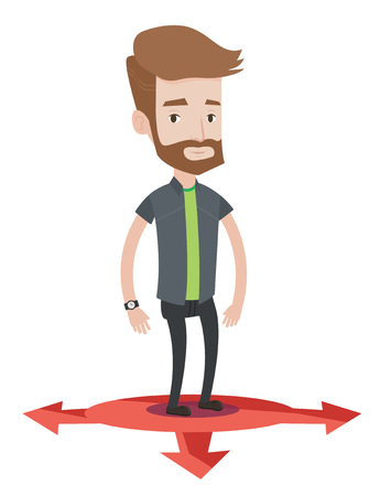 Caucasian hipster man with the beard standing on three alternative career ways. Young man choosing career way. Concept of career choices. Vector flat design illustration isolated on white background. Illustration