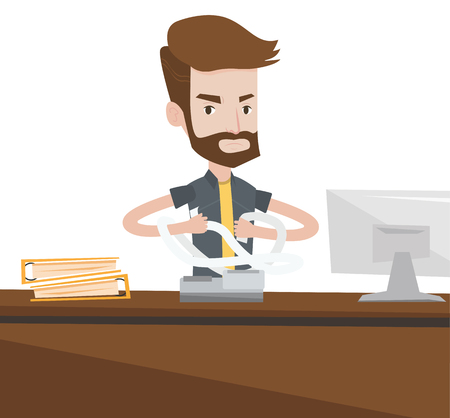 Caucasian hipster businessman with the beard sitting in office and tearing furiously bills. Young angry businessman calculating bills. Vector flat design illustration isolated on white background.