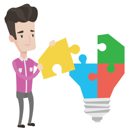 Caucasian businessman completing light bulb made of puzzle. Businessman inserts the missing puzzle in light bulb. Business idea concept. Vector flat design illustration isolated on white background.