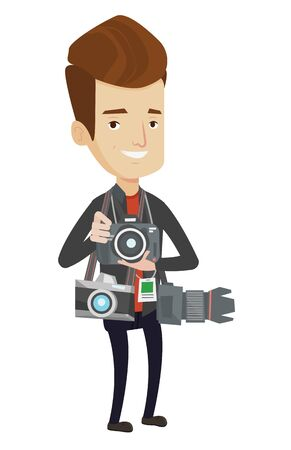 Paparazzi with many cameras. Caucasian male photographer with many photo cameras equipment. Professional journalist with many cameras. Vector flat design illustration isolated on white background.