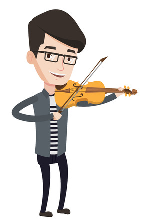 Young smiling musician playing violin. Cheerful violinist playing classical music on violin. Caucasian musician standing with violin. Vector flat design illustration isolated on white background.