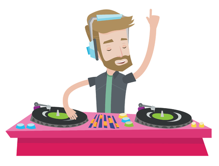 Hipster young DJ with the beard mixing music on turntables. DJ playing and mixing music on deck. Caucasian DJ in headphones at the party. Vector flat design illustration isolated on white background. Illusztráció