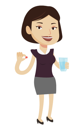 Young caucasian woman taking pills. Healthy woman holding pills and glass of water in hands. Happy smiling woman taking pills. Vector flat design illustration isolated on white background.