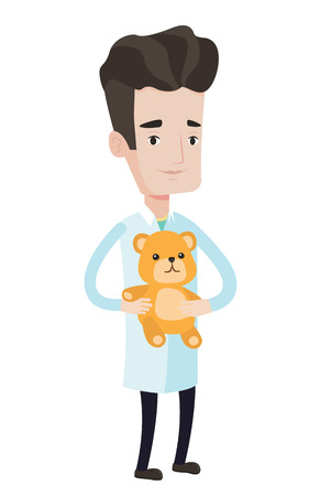 Pediatrician doctor holding a teddy bear. Pediatrician doctor standing with a teddy bear. Young caucasian pediatrician in medical gown. Vector flat design illustration isolated on white background. Illustration