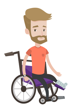 Injured caucasian man with leg in plaster. Hipster man with the beard sitting in wheelchair with broken leg. Man with fractured leg. Vector flat design illustration isolated on white background.