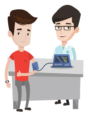 cuff: Caucasain man checking blood pressure with digital blood pressure meter. Man giving thumb up while doctor measuring his blood pressure. Vector flat design illustration isolated on white background. Illustration