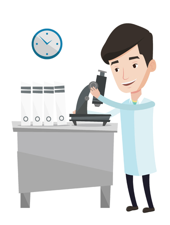 Laboratory assistant working with microscope. Laboratory assistant working at the laboratory. Laboratory assistant using a microscope. Vector flat design illustration isolated on white background. Illustration