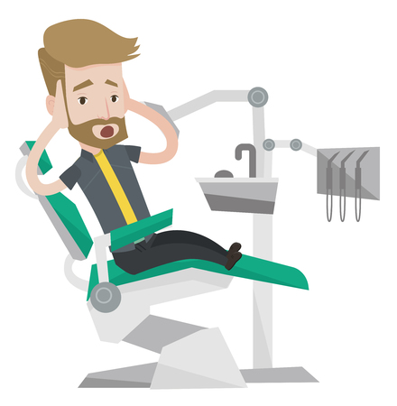 Frightened hipster patient at dentist office. Scared young man in dental clinic. Man visiting dentist. Afraid man sitting in dental chair. Vector flat design illustration isolated on white background.